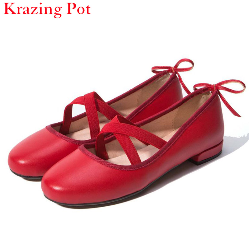 2017 Fashion Genuine Leather Round Toe Flower Shallow Solid Slip on Ballet Dance Bowtie Flats Girl Cozy Sweet Summer Shoes L52 bowtie ballet flats women sweet casual single shoes summer soft open toe sandals slip on fashion ladies large size 41 moccasins