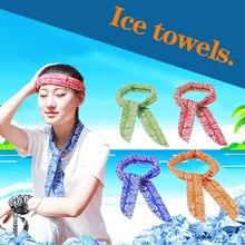 Зеленый лист стиль летний лед шарф супер шеи охлаждающая повязка на голову прохладное ледяное полотенце охлаждающий шарф холодной воды полотенце