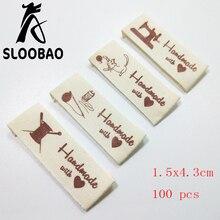 Sloobao 100 шт ручная работа с любовью хлопковые этикетки с надписью моющиеся для одежды этикетки ручной работы ярлыки с тиснением DIY этикетки типа «флажок» для