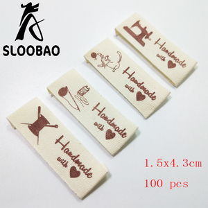 Sloobao 100pcs hand made with love cotton printed label washable for Clothing Labels Handmade Embossed Tags DIY Flag Labels For