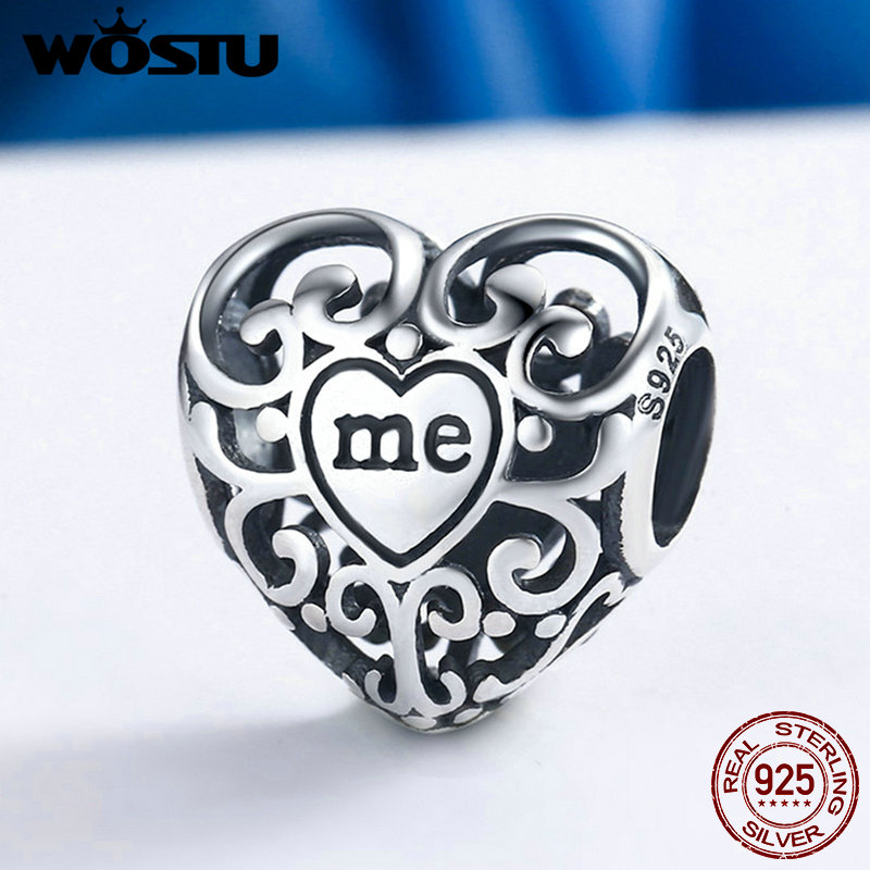 WOSTU New Arrival 925 Sterling Silver You & Me Love Together Beads Fit Original Pandora Charm Bracelet Jewelry Gift FIC145