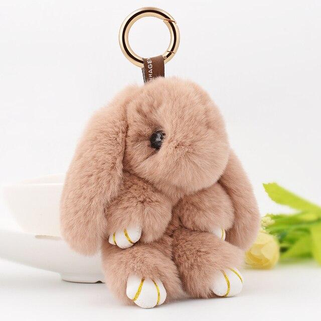 2016 New Fashion Car Play Dead Rabbit Fluffy Key Chain Fur Pom Pon Keychain Rex Rabbit Bag Car Hanging Pendant Jewelry