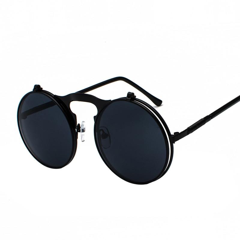 2018 Metal Retro Steampunk Flip gafas de sol hombres y mujeres gafas de moda marco redondo