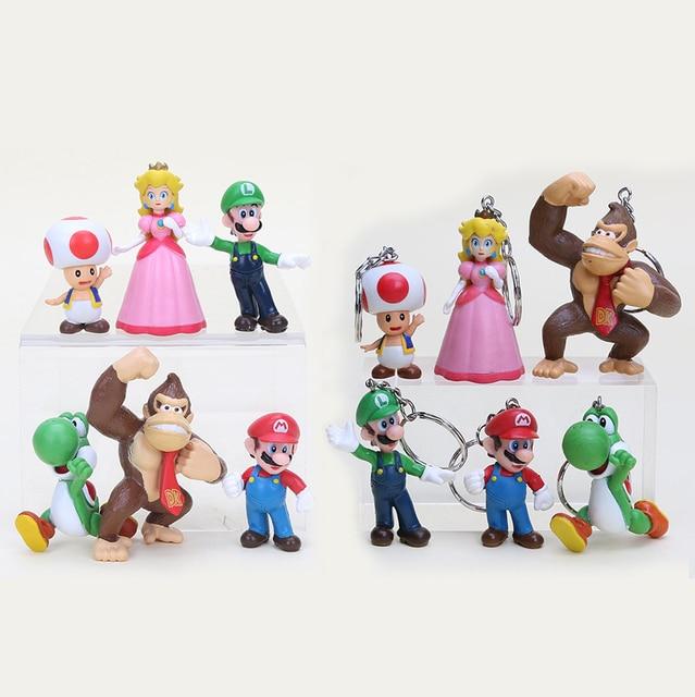 015024dabf91a 6 pçs set Super Mario Bros Figura Brinquedos Com Chaveiro Mario Luigi Yoshi  Pêssego King