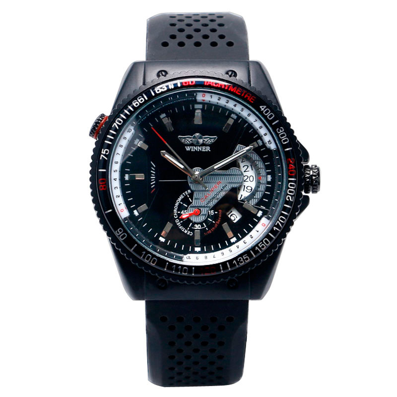 T-WINNER Military Silicone Strap Automatic Mechanical Watch Unique Fashion Aviator Analog Wristwatch Sport Date Dial Men Relogio