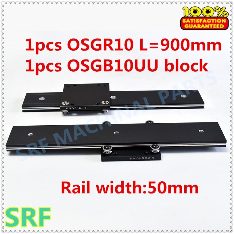 50mm width Aluminum roller linear guide rail external dual axis linear guide 1pcs OSGR10 L 900mm