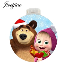 JWEIJIAO Bear And Girl Cartoon Pocket Mirror With Massage Comb Children's Folding Compact Portable Multifunctional Mirrors vintage style portable folding airbag massage comb with mirror