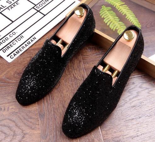 Argent Paillettes Designer De Pour 03 01 Chaussures Glitter Or Hommes Mocassins 02 Mariage Marié Partie Noir Robe Nouveau Pointu BIFqpnq