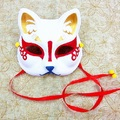 Half Face Japanese Style Hand-Painted Fox Mask Kitsune Mononoke Pattern Cosplay Masquerade for Party Halloween A1