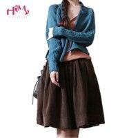 Original Design Vintage Wide Sweep Skirt Corduroy Empire Women Autumn Winter Skirt Mori Girl Preppy Style Hot Sale Skirt