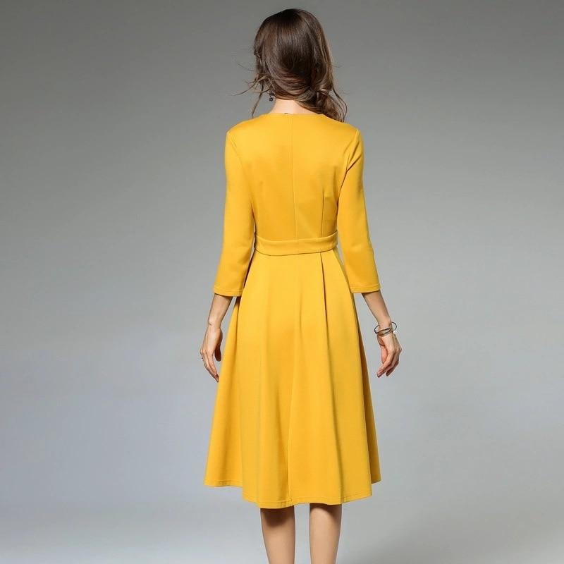 Col jaune Genou Robe ligne A V Femmes Noir longueur Maxz Floral Robes La Aq16xYpU