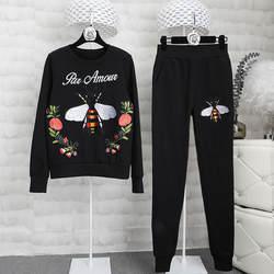 Женский Осенний Трикотажный костюм для досуга 2018 осень Подиумные свитеры с вышивкой + повседневные штаны комплект из двух предметов D373