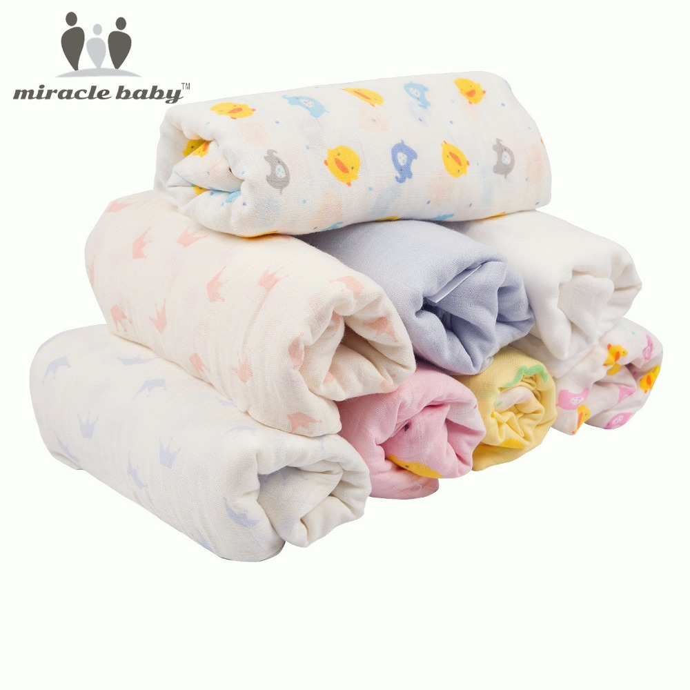 Miracle Baby Receiving Blanket Soft Swaddle wrap 70% Bamboo 30% Cotton Square Muslin Cloth Stroller Blanket Nursing Cover Unisex