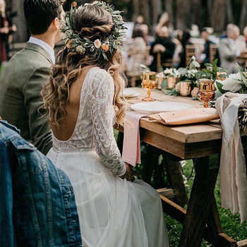 Beach Wedding Dress With Long Sleeves 2019 Vestido de noiva Vintage Lace Top Chiffon Skirt Boho Bridal Dresses Sweep Train - DISCOUNT ITEM  5% OFF All Category