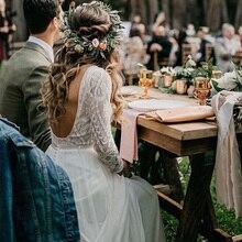 Strand Trouwjurk Met Lange Mouwen 2019 Vestido de noiva Vintage Lace Top Chiffon Rok Boho Bruidsjurken Sweep Trein