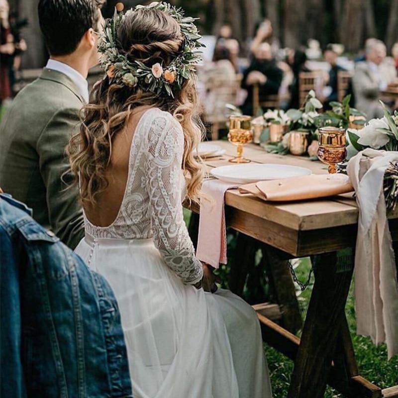 Vestido de casamento de praia com mangas compridas 2019 vestido de renda vintage superior chiffon saia boho vestidos de noiva trem varredura
