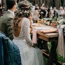 Vestido de novia de manga larga para playa, Encaje Vintage, camiseta de chifón, vestidos de novia estilo bohemio, tren de barrido, 2019
