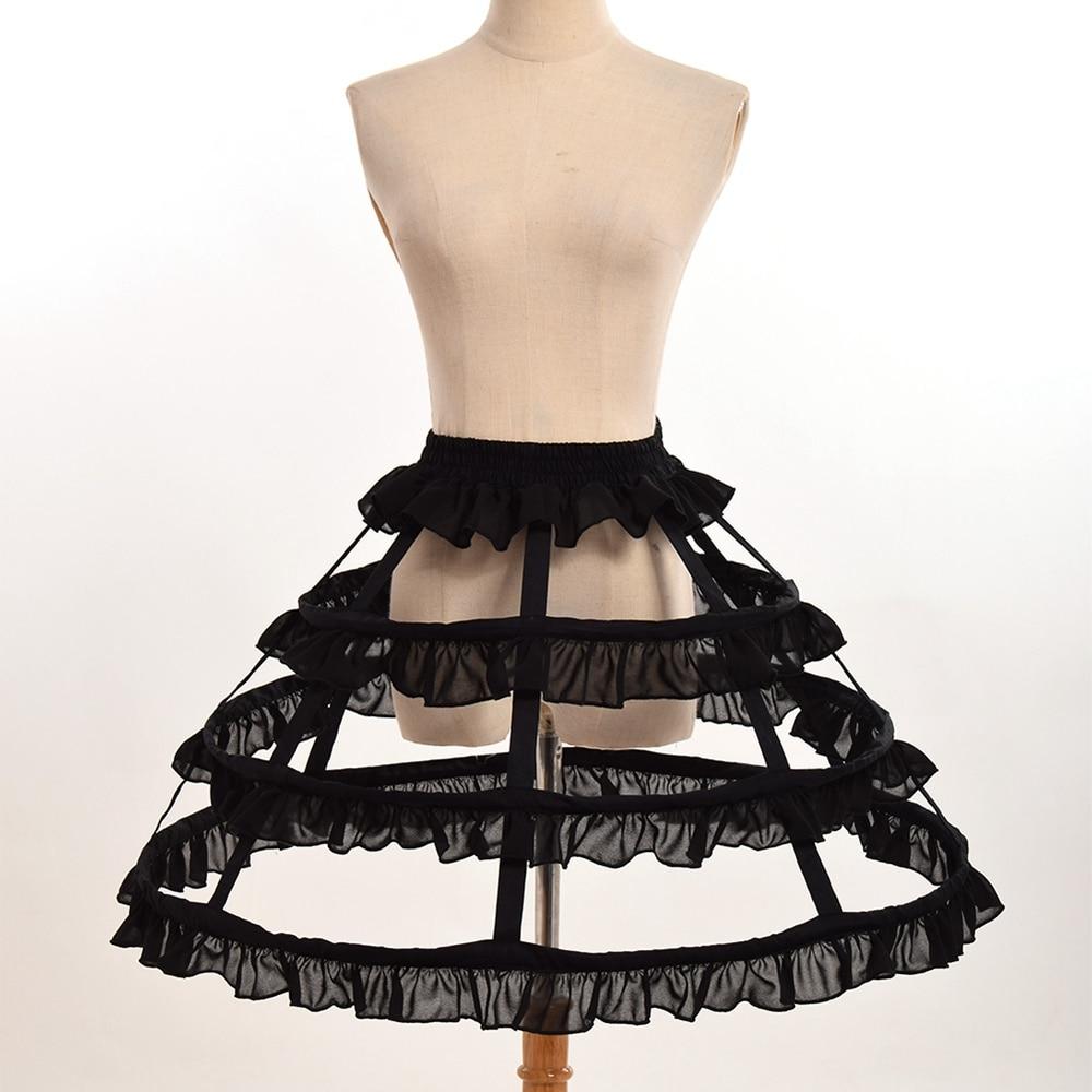 Kvinnor Cosplay Vintage Medeltida Kjol Victorian Gothic Lolita Fishbone Petticoat Underskirt för Ball Gown