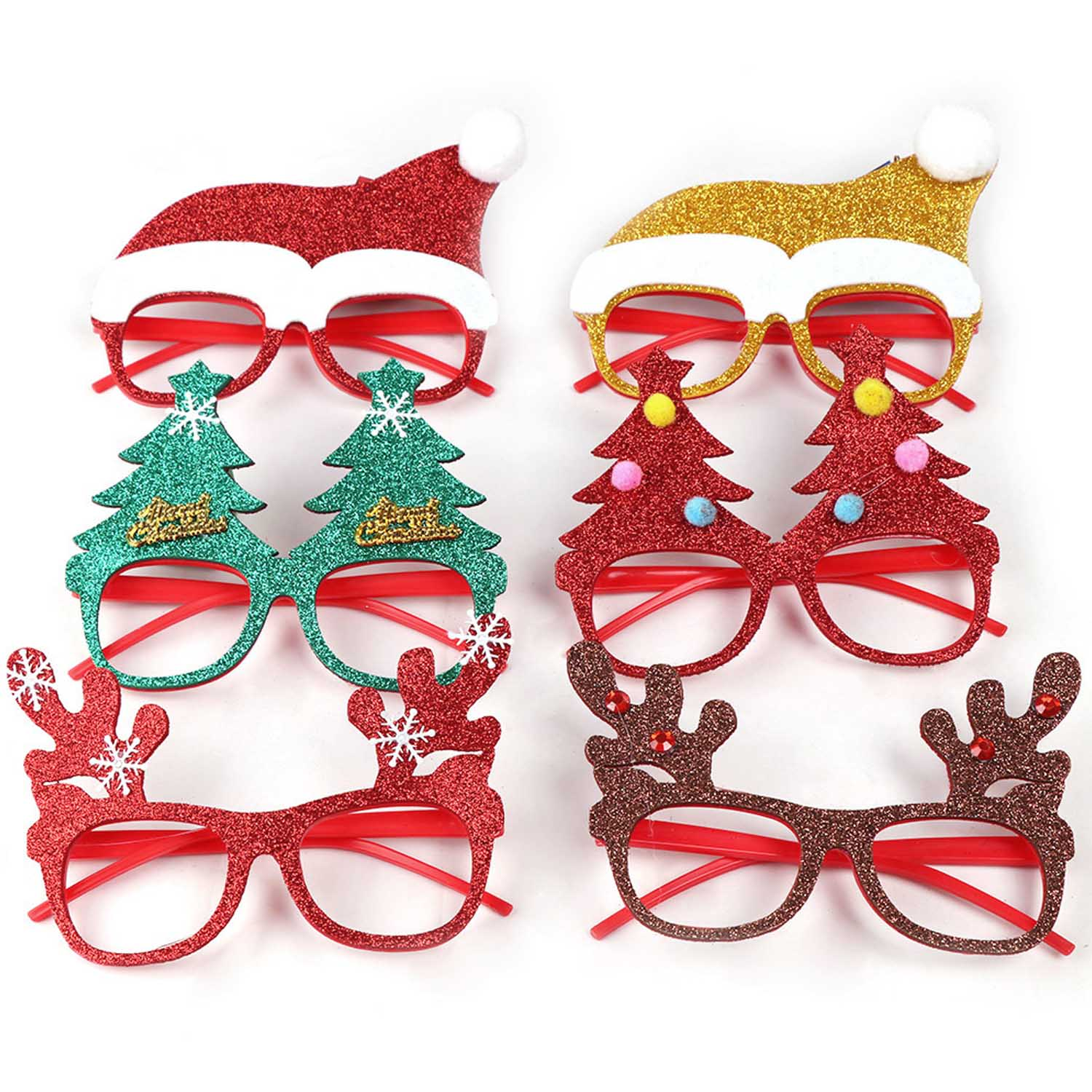 Besegad 6pcs Cute Funny Christmas Glitter Eyeglasses Glasses Frame Xmas Holiday Costume Party Favors Decoration Supplies