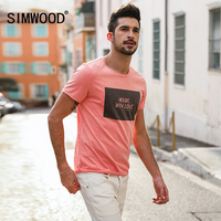 SIMWOOD 2018 Brand Fashion Casual Men T Shirt Summer Short Sleeve O Neck Letter Print Slim