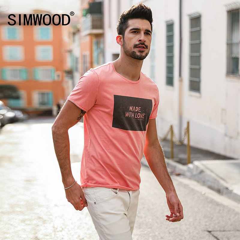 9facdb18 SIMWOOD 2019 Brand Fashion Casual Men T shirt Summer Short Sleeve O-neck  Letter Print Slim T shirt Mens Tops Tee TD017112