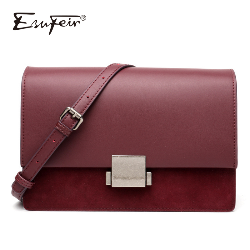 New ESUFEIR Scrub Genuine Leather Shoulder Bag for women Messenger Bags Female Crossbody Bag Fashion Lock Design Brand Women Bag new esufeir genuine leather stone pattern women handbag famous brand design messenger bag fashion tassel tote bags crossbody bag