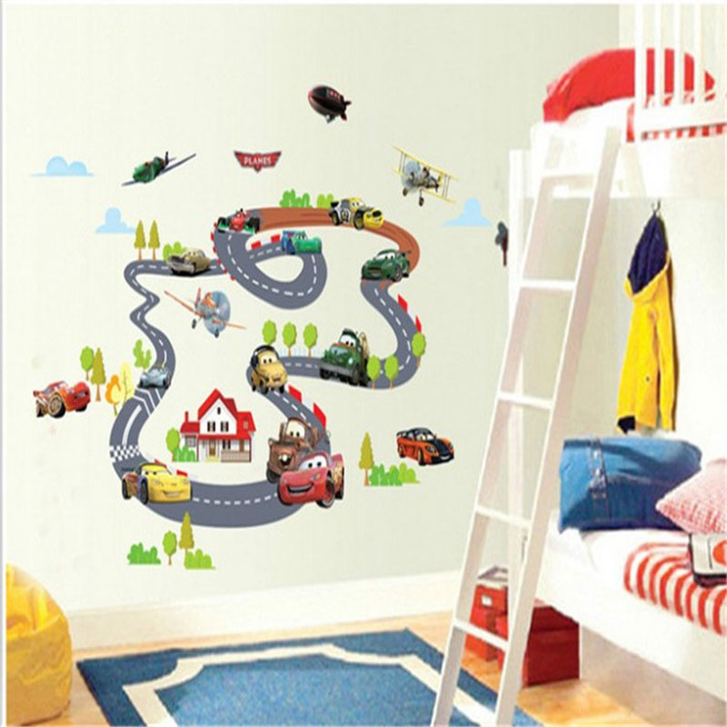 Cartoon cars highway track wall stickers for kids rooms for Wall art for kids room