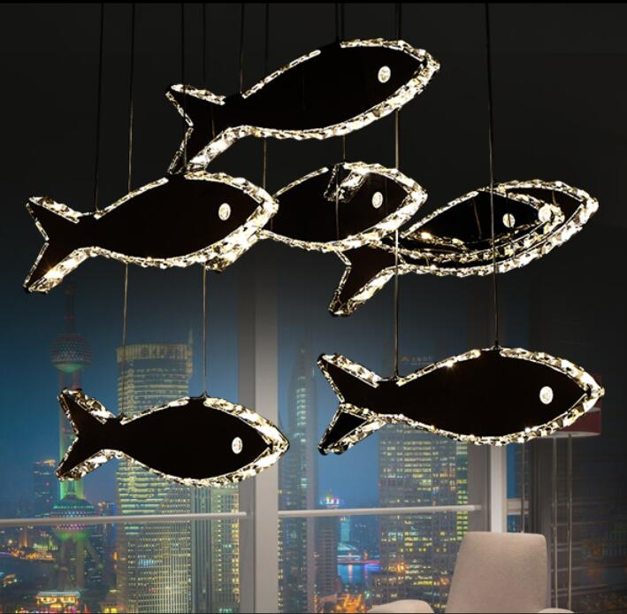Simple modern restaurant chandeliers crystal fish chandelier bar counter LED pendant light creative personality lamps TA9156