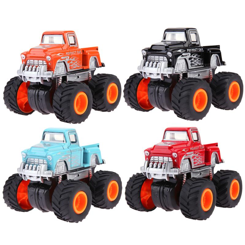 Children Cartoon Four-Wheels Pickup Car Model 360 Degree Rotation Alloy Simulation Vehicle Toys Red Blue Black Orange