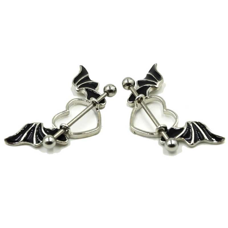 1 Pcs Stainless Steel Bat Wing Nipple Shield Ring Angel Heart Piercing Barbell Jewelry