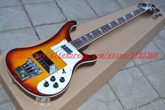 Новый стиль 4003 бас коричневый желтый цвет электрическая бас-гитара Серебро аппаратных Музыкальные Инструменты Бесплатная доставка