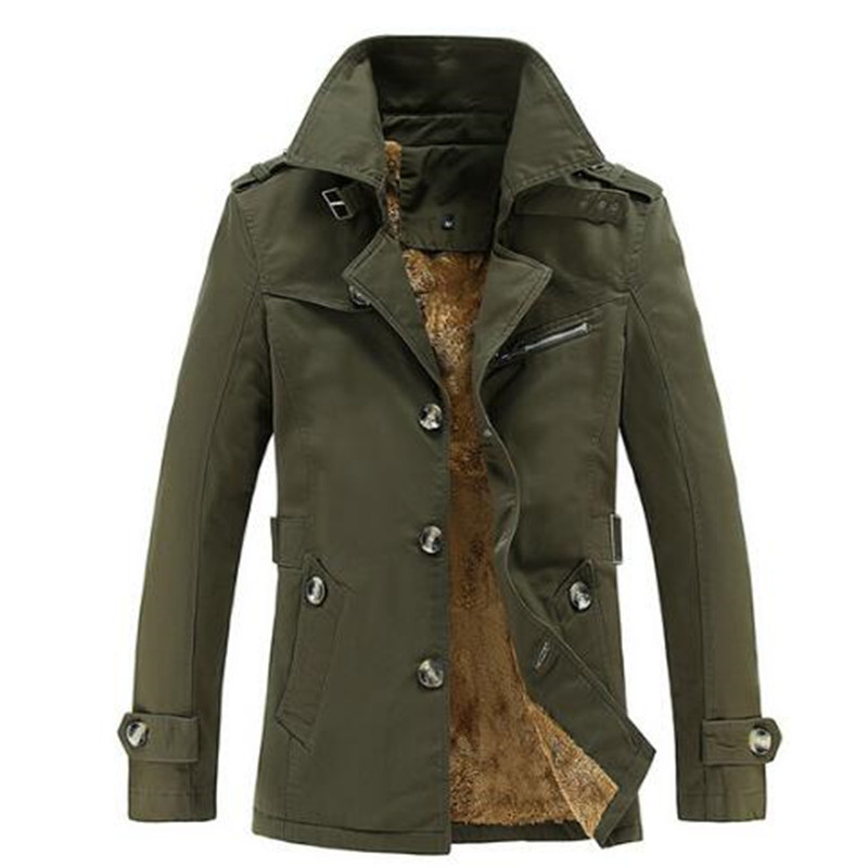 2017 new autumn men   trench   coat slim fit stand collar casual military winter coat with velvet M-5XL