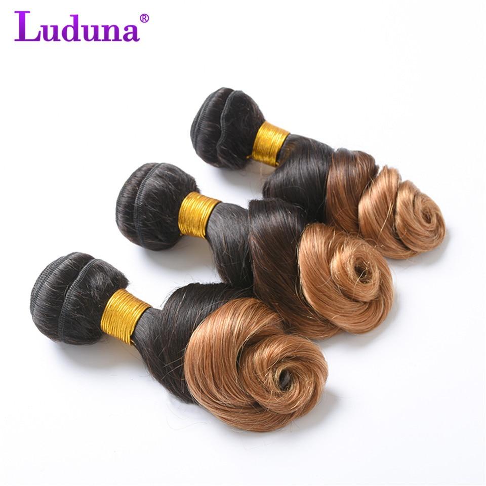 Luduna Ombre Brazilian Loose Wave Hair Bundle Human Hair Weave Bundles 1B/27 Color 2 Tone Non-remy Hair Extensions