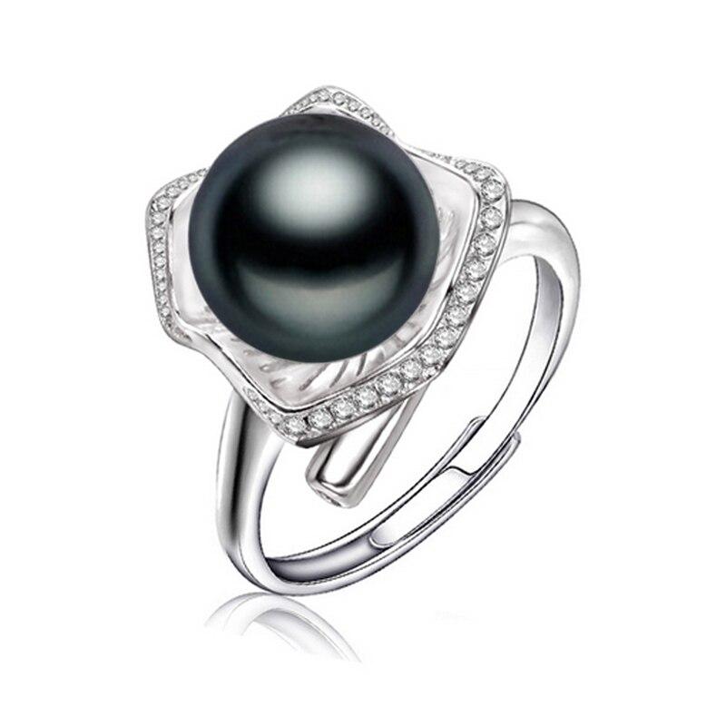 fenasy black pearl jewelry pearl rings freshwater pearl