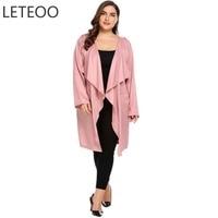 LETEOO Plus Size Long Cardigan Women Autumn Long Sleeve Shirt Casual Long Blouse Open Front Pocket