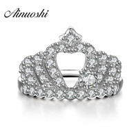 AINUOSHI Girl Cute Crown Party Rings the Queen's Wedding Ring Temperament Crown Ring Women 925 Sterling Silver Jewelry Lovers