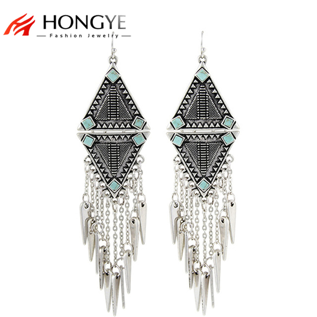 Fashion 2018 New Arrival Punk Women Ethnic Vintage Silver Color Tassels Chunky Statement Drop Long Earrings For Women Jewelry
