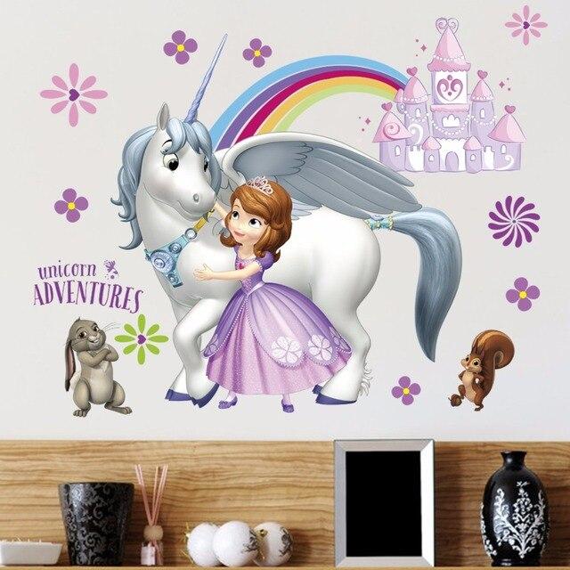 3D Sofia Princess Unicorn Wall Sticker Decal Cartoon Mural Art Wallpaper Decor 040