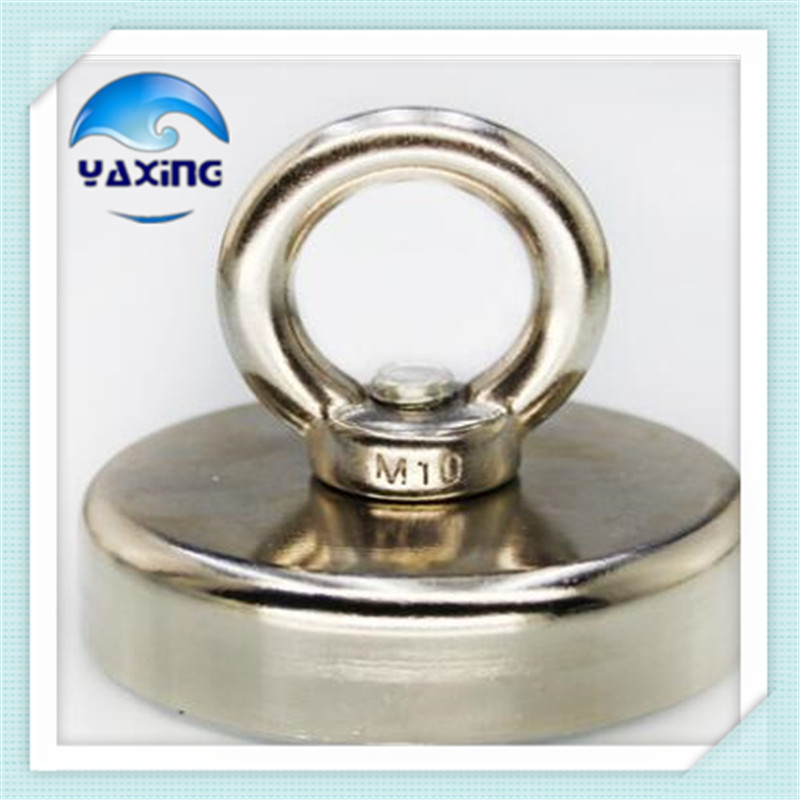 162kg Pulling Mounting Magnet 2PCS  Dia 75mm Magnetic Pots with Ring Lifting Magnet  Neodymium Permanent  sea salvage magnet zhangyang 120kg pulling mounting d60mm strong powerful neodymium magnetic pot with ring fishing gear deap sea salvage equipment