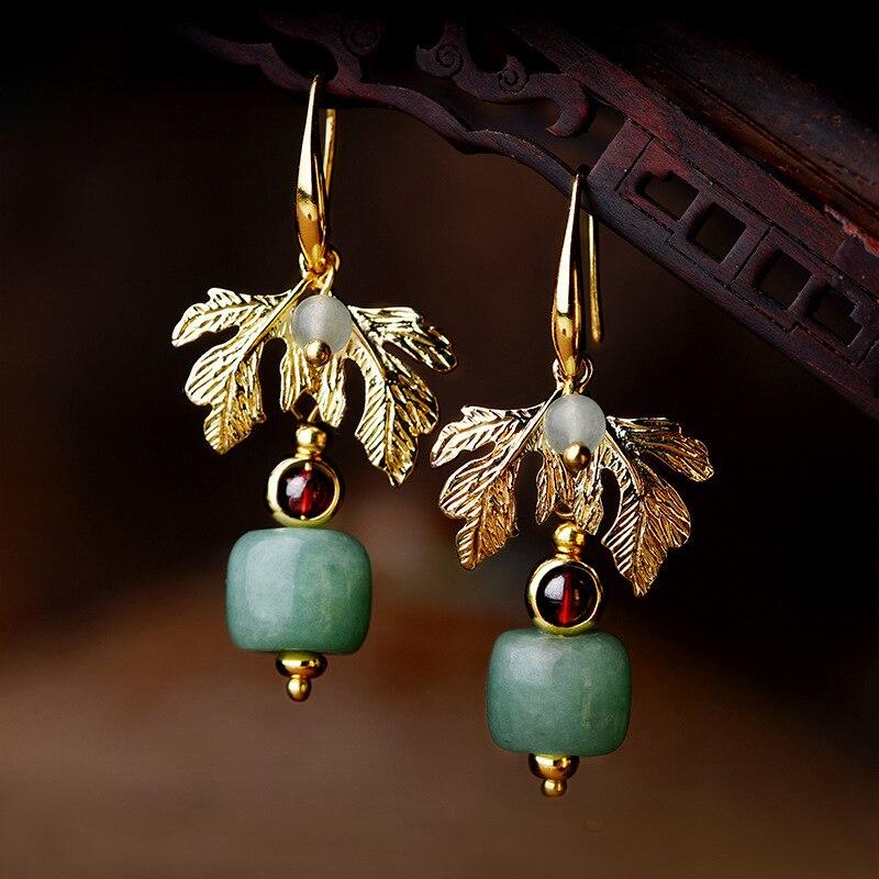 Original green Aventurine dangle earrings women , gold leaves vintage earrings style,New nature stone Ethnic earrings jewelry серьги висячие vintage style pentacle earrings