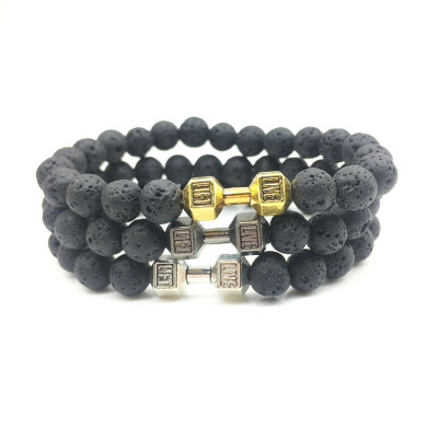 Fashion 8mm bright black volcanic stone beaded dumbbell player string couple grinding sand match bracelet Br-46