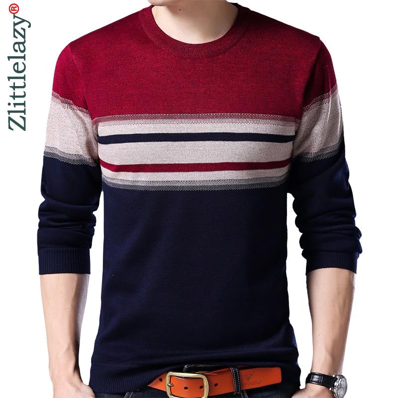 2019 Brand Designer Pullover Striped Men Sweater Dress Thick Winter Warm Jersey Knitted Sweaters Mens Wear Slim Fit Knitwear 131