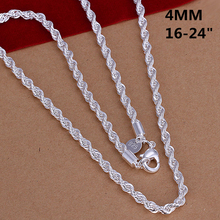 2015 new arrived 925 sterling silver jewelry 4mm rope chains necklace for men's fine jewerly wholesale promotion 16-24inch