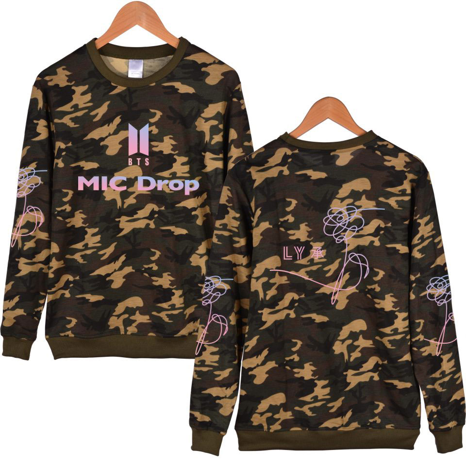 K-pop BTS Camouflage Sweatshirt New song MIC Drop Sweatshirt Female BTS Fans Youngth Bangtan Boys Sweatshirt Capless