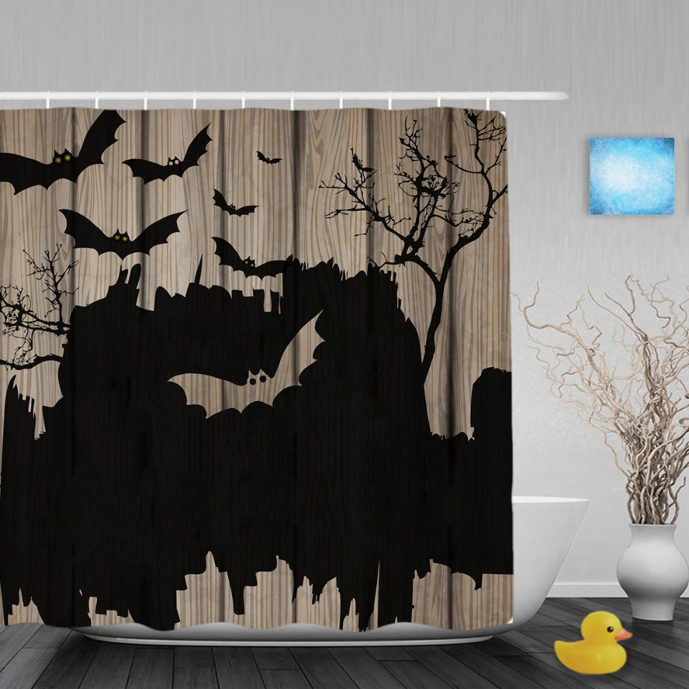 Halloween shower curtain hooks - Halloween Home Decor Shower Cutains Bat Castle Print On Wood Bathroom Shower Curtains Polyester Waterproof Fabric With Hooks