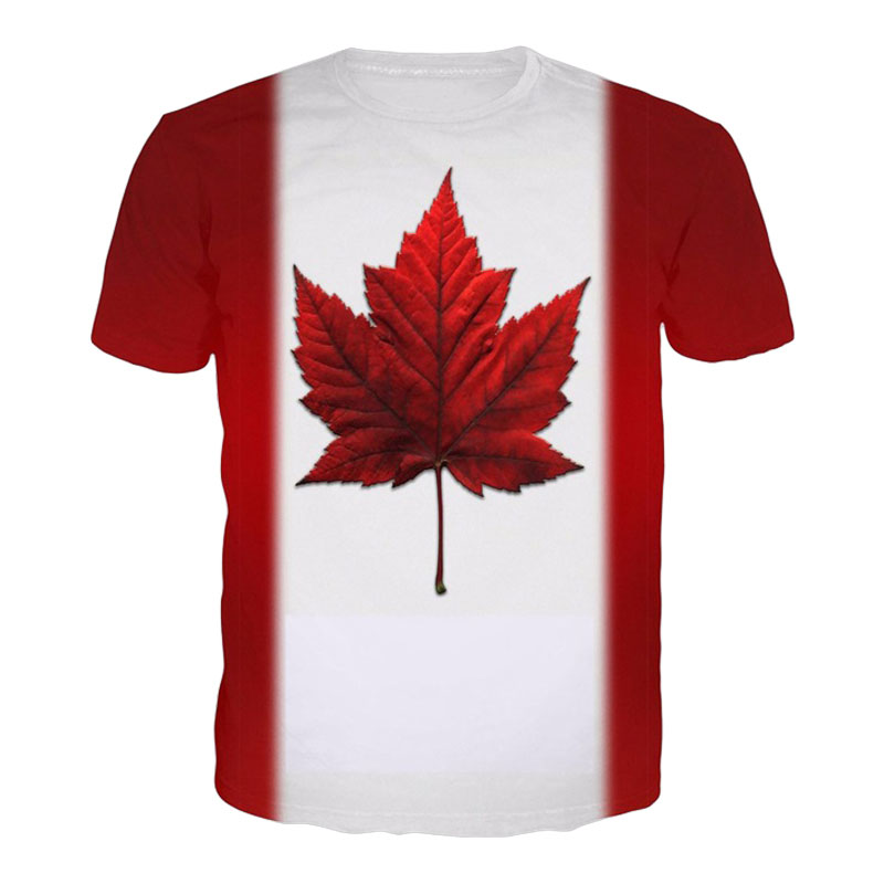 LiZhiYang High quality Cool T-shirt Men or Women 3d Tshirt Print Creative Maple Leaf Canadian flag Short Sleeve free shopping