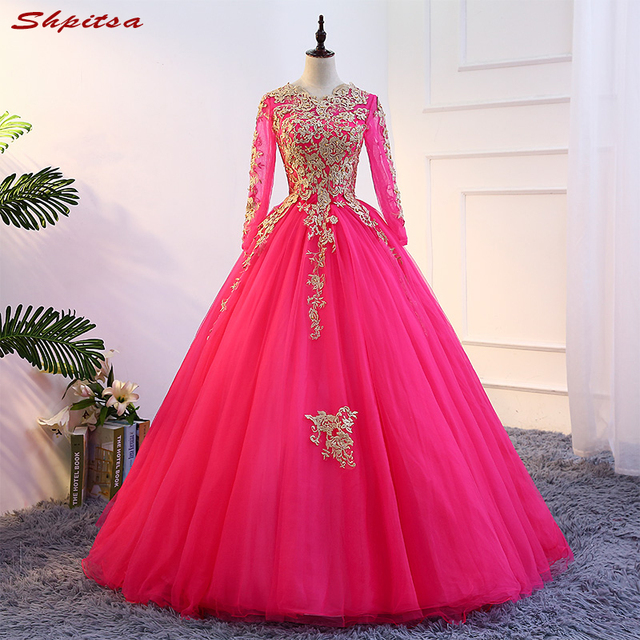 f4872f58bf1 Long Sleeve Quinceanera Dresses 2018 Masquerade Ball Gown Tulle Sweet 16  Dresses vestido de 15 anos