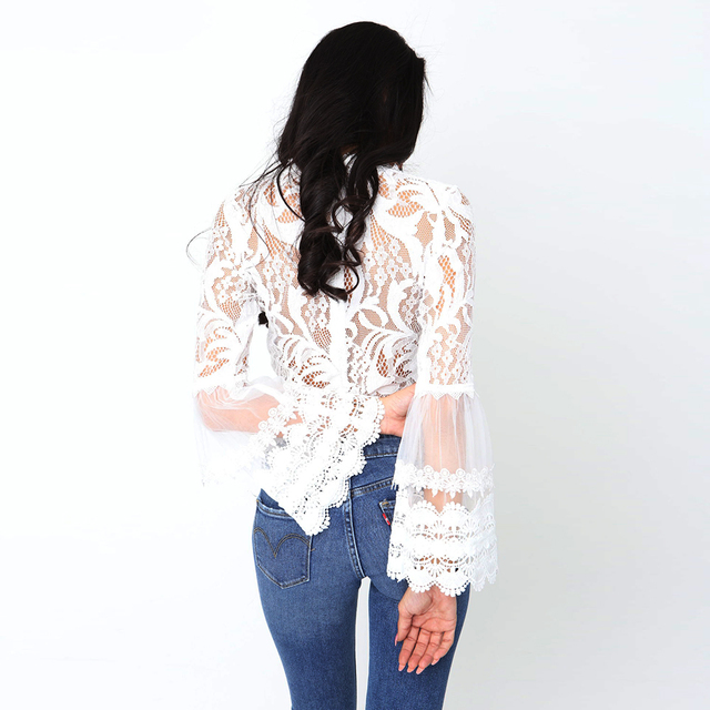 New 2019 Summer Fashion bell sleeve laced crop tops sexy o-neck white blouses ladies casual shirts 1