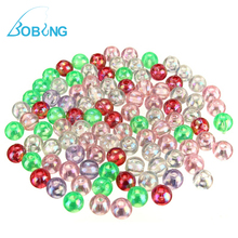 Bobing Hot sale 100pcs/lot 5MM Sea Deep Drop Fishing Lure Bait Rid Beads Round Plastic Crap Fishing Tackle Box Accessory tool