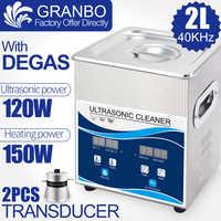 2L 120W limpiador ultrasónico digital calentador Degas Baño de acero inoxidable uso en el hogar joyería gafas bujía perla tallado óxido aceite